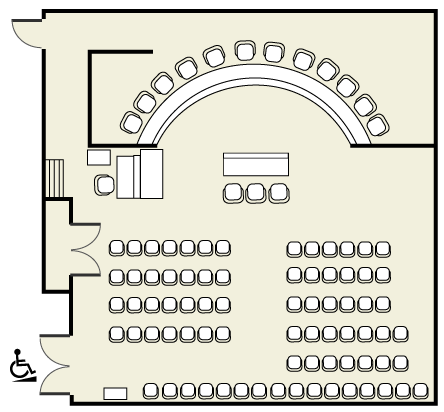 Hearing room diagram showing ADA access