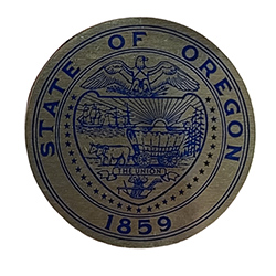 gold sticker with state seal in blue