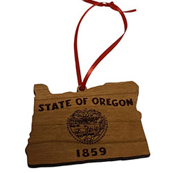 State of Oregon Wood Ornament