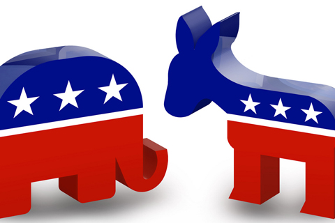 Picture of REpublican Elephant and Democrat Donkey