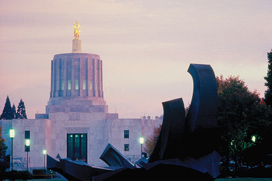 The State Capitol at dusk.
