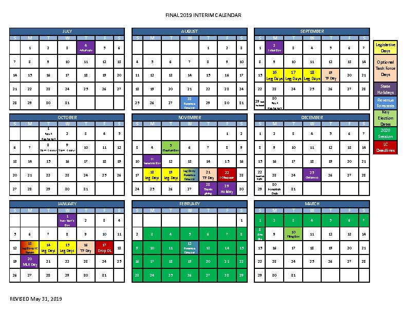 Senate Legislative Calendar December 2019 Secretary of the Senate Home Page